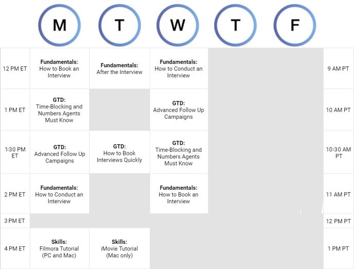 Coaching Schedule Colliers_nothurs_fri